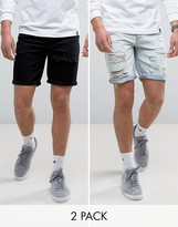 Asos 2 Pack Slim Denim Shorts With Mega Rip In Black & Bleach Blue Save