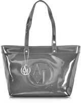 Armani Jeans Gray Eco Patent Leather Large Tote Bag