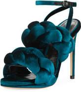 Marco De Vincenzo Braided Velvet Ankle-Strap Sandal