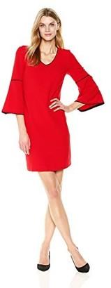 Sandra Darren Women's 1 Pc 3/4 Bell Sleeve Crepe V-Neck Sheath Dress