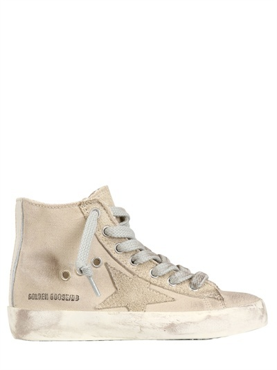 Cream Canvas High Top Sneakers