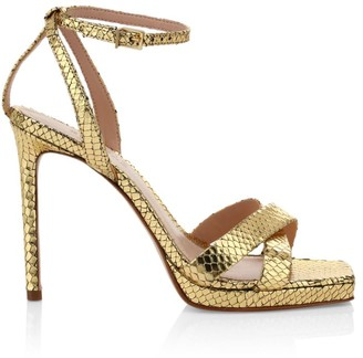 Schutz Ava Rose Snakeskin-Embossed Metallic Leather Platform Sandals