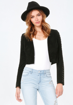 Bebe Suede Lace Up Crop Jacket