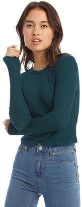 Miss Shop Crew Neck Cropped Long Sleeve Rib Top