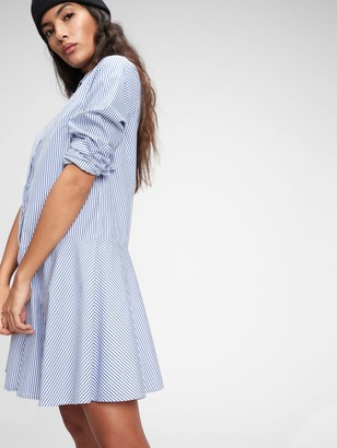 Gap Stripe Flounce Mini Shirtdress