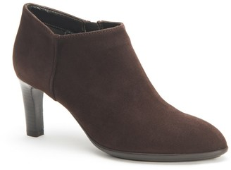 Aquatalia Dona Leather Block Heel Bootie