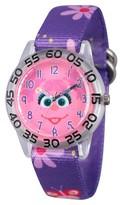 Sesame Street Girls' Clear Plastic Time Teacher Watch - Purple