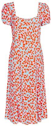 Elena leopard-print crApe midi dress