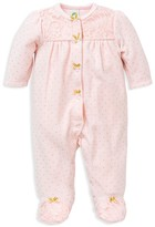 Little Me Infant Girls' Lace Trimmed Sparkle Dot Velour Footie - Sizes 3-9 Months