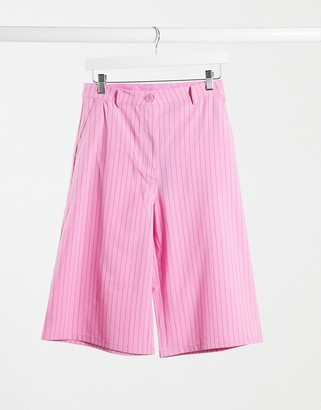 Weekday Saana co-ord recycled pinstripe city shorts in pink
