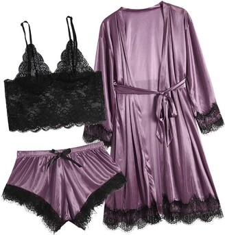 TOPEREUR Sexy Lingerie for Women Plus Size 3Pcs Set Lace Cutout BralettePantiesSatin Robe with Belt Sleepwear Outfits