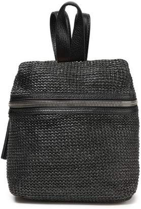 Kara Leather-paneled Faux Raffia Woven Backpack