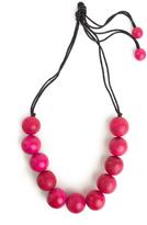 Josie Natori Large Wood Bead Necklace Rose Pink