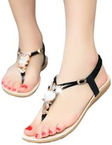 Fashion Brand Best Show Women's Summer Style Elastic T-strap Bohemia Beaded Owl Flat Sandals
