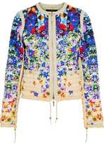 Roberto Cavalli Faux-Leather Trimmed Quilted Floral-Print Shell Jacket