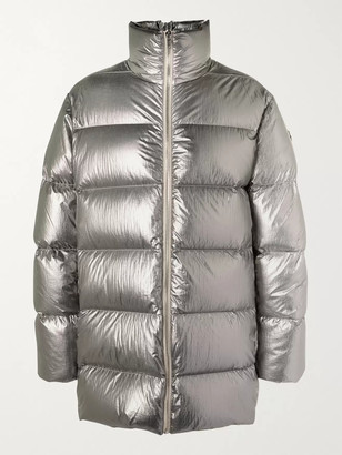 Rick Owens + Moncler Cyclopic Logo-Appliqued Quilted Metallic Shell Down Coat