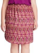 Lauren Ralph Lauren Plus Ikat Print Crepe Skirt