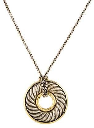 David Yurman Two-Tone Thoroughbred Disc Pendant Necklace