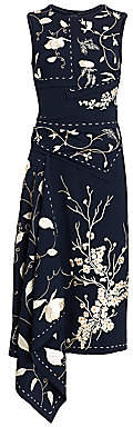 Oscar de la Renta Women's Embroidered Asymmetric Floral Sheath Dress