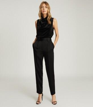 Reiss Lola - High Neck Sleeveless Top in Black