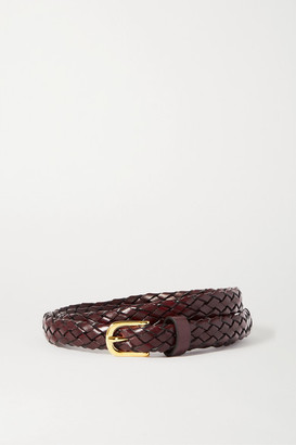 Andersons Anderson's - Woven Leather Belt - Burgundy