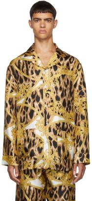 Versace Underwear White and Yellow Wild Barocco Pyjama Shirt