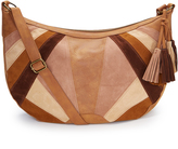 Brown Color Block Crossbody Bag