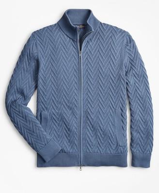 Brooks Brothers Supima Cotton Chevron Full-Zip Cardigan