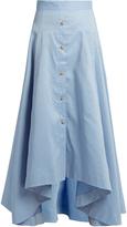 Peter Pilotto Dipped-hem cotton and linen-blend skirt