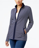 Karen Scott Striped Mock-Neck Jacket, Only at Macy's