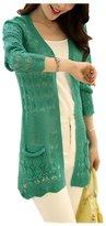 ARJOSA Women's Fashion Pockets Crochet Cable Knit Open Front Cardigan Sweater Knitwear Coat Jacket ( Black)