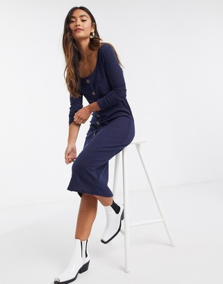 Brave Soul button front midi dress in navy