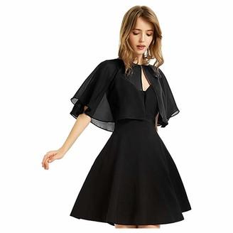 LEXUPE Women's Soft Chiffon Shawl Wraps for Evening Dress Wedding Cape Bolero Flapper(Black Einheitsgroe)