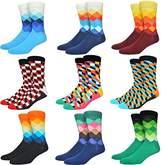 Welen 6 Packs Men Color Dress Socks Funny Colorful Rainbow Argyle High Fun Sock ()