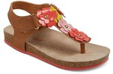 Cat & Jack Toddler Girls' Sarah Thong Footbed Sandals With Mutli-Colored Flower Appliques Cat & Jack - Brown