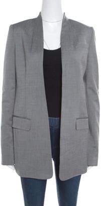 Alexander Wang Grey Velvet Cropped Back Detail Open Front Blazer S