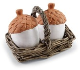 Mud Pie White Acorn Salt & Pepper Willow Basket Set