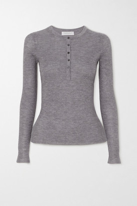 Gabriela Hearst Julian Ribbed Cashmere And Silk-blend Top - Gray