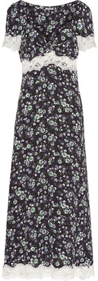 Miu Miu Floral Print Lace Detail Dress