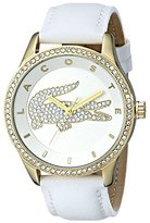 Lacoste Women's 2000820 Victoria Gold-Tone Stainless Steel Watch With White Leather Band