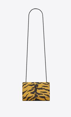 Saint Laurent Monogram Kate Kate Small In Grain De Poudre Embossed Zebra Print Leather Yellow Onesize