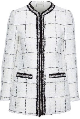 Alice + Olivia Indira Embellished Checked Tweed Jacket
