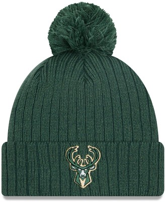New Era Men's Hunter Green Milwaukee Bucks Breeze Cuffed Knit Hat with Pom