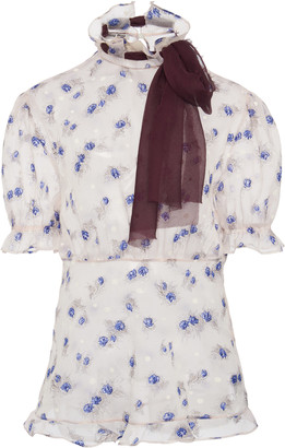 Miu Miu Tie-Detailed Floral-Print Georgette Top