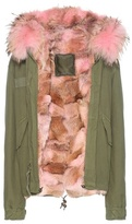 Mr & Mrs Italy Mini fur-lined cotton parka with fur-trimmed hood