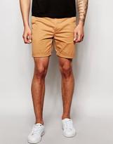 Asos Slim Chino Shorts In Tan