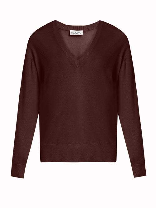 Raey V Neck Fine Knit Cashmere Sweater - Womens - Burgundy