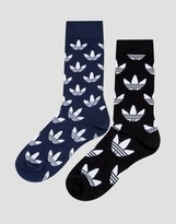 adidas 2 Pack Trefoil Printed Socks In Black & Navy