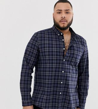 Asos DESIGN Plus regular fit check shirt in navy and gray