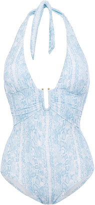 Heidi Klein Lake Manyara Ruched Snake-print Halterneck Swimsuit